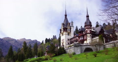Peles royal castle in Sinaia, Romania. Cloud time lapse, 4k,static Stock Footage