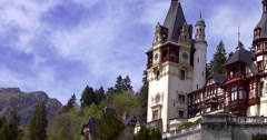 Peles royal castle in Sinaia, Romania. Cloud time lapse, 4k,pan Stock Footage
