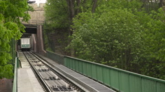 Cable Car in the Petrin park in Prague. The train arriving Stock Footage