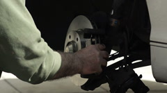Close-up of Mechanic Changing New Brake Disc by Car - stock footage