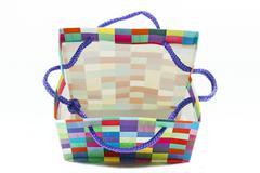 Colorful Open Patterned Gift Bag on White - stock photo