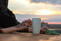Hand of Arabian Female with Painted Traditional Tattoo Ornament Stock Photos