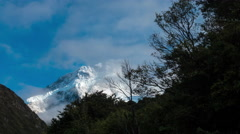 Clouds moving timelapse at snowcapped Mount Cook, New Zealand. Stock Footage