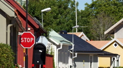 Stop Sign in Sweden Village Stock Footage