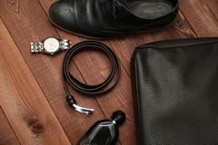 Collection of man's business accessories and clothes. Stock Photos