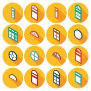 color isometric set of flat icons window - stock illustration