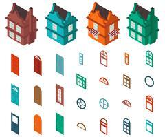isometric set  designer house - stock illustration