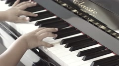 Piano music pianist hands playing. Musical instrument grand piano details - stock footage