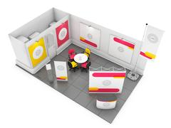 Blank creative exhibition stand design with color shapes. 3D render Stock Illustration