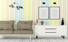 Colorful and modern interior with sofa, mock up poster and side table - stock illustration