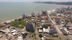 Aerial View of Bahia de Caraquez and the Pacific after the Earthquake Stock Footage