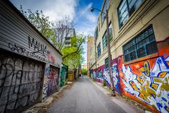 Graffiti in an alley in the Fashion District, of Toronto, Ontario. Stock Photos