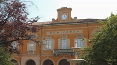 Town Hall and fountain, Mortara, PV, Italy - stock footage