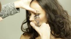 Correcting eyelashes - stock footage