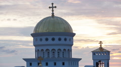 Time lapse of Church of St. Jovan Vladimir against the backdrop of the sunset Stock Footage