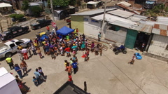 Residents Gather to Receive Relief in Bahia de Caraquez Stock Footage