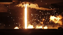 Molten Metal Poured From Ladle - stock footage