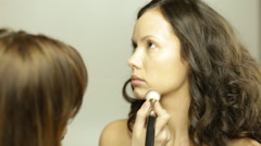 Contour of face makeup - stock footage