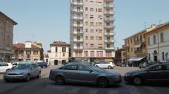 Mortara, Italy – circa May 2016: Cars parked in Piazza Silvabella Stock Footage