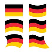 Germany flag. Set of flags of German Republic in various forms. Developing Ge Stock Illustration
