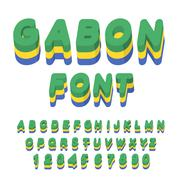 Gabon font. Gabonese flag on letters. National Patriotic alphabet. 3d letter. - stock illustration