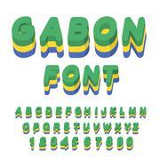 Gabon font. Gabonese flag on letters. National Patriotic alphabet. 3d letter. Stock Illustration