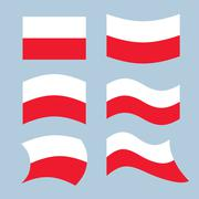Poland flag. Set of flags of Polish Republic in various forms. Developing the Stock Illustration