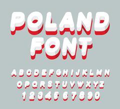 Poland font. Polish flag on letters. National Patriotic alphabet. 3d letter.  - stock illustration