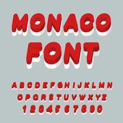 Monaco font. Monaco flag on letters. National Patriotic alphabet. 3d letter.  - stock illustration