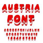 Austria font. Austrian flag on letters. National Patriotic alphabet. 3d lette - stock illustration