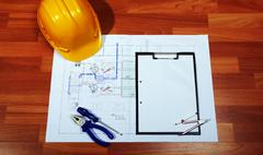 Architectural Blueprints And Work Tool - stock photo