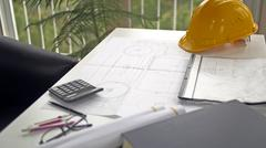 Architectural Blueprints And Work Tool Stock Photos