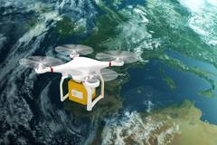 Composite image of digital image of a drone holding a cube - stock illustration