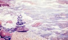 Vintage stylized stack of stones, balance and harmony concept. - stock photo