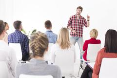 Sharing his vision with the team - stock photo
