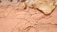 Dried mud, drought and arid ground concept - stock photo