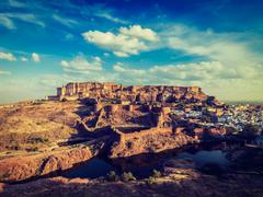 Mehrangarh Fort, Jodhpur, Rajasthan, India - stock photo