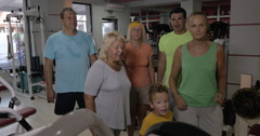 Family getting excited after training together in the gym Stock Footage