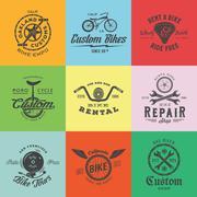 Retro Custom Bicycle Vector Labels or Logo Templates Set. Bike Symbols, Such as Stock Illustration