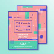 Event, Party Invitation Card Template. Modern Abstract Flat Swiss Style - stock illustration
