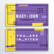 Wedding Invitation Card Template. Modern Abstract Flat Swiss Style Background - stock illustration
