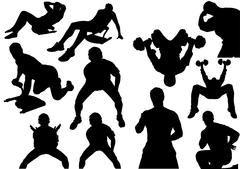 Home Fitness Silhouettes - stock illustration