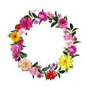 Frame Made from Summer Pink Flowers and Green Leaves Isolated on - stock photo