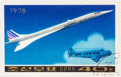 Anglo-French supersonic passenger aircraft Concorde on postage stamp Stock Photos