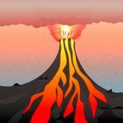 Vector illustration of an active volcano - stock illustration