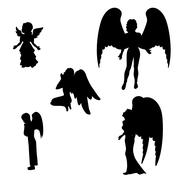 Silhouette of a black angel - stock illustration