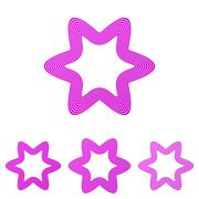 Magenta line star logo design set Stock Illustration