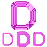 Magenta line d letter logo design set Stock Illustration