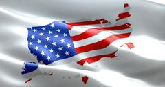 american USA flag on united states of america map, stars and stripes - stock illustration
