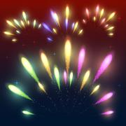 Colorful fireworks - stock illustration